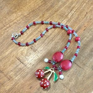 Beaded Crystal Cherry Necklace